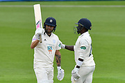 50 for Gareth Berg of Hampshire - Gareth Berg of Hampshire celebrates scoring a half century with Fidel Edwards of Hampshire during the Specsavers County Champ Div 1 match between Hampshire County Cricket Club and Worcestershire County Cricket Club at the Ageas Bowl, Southampton, United Kingdom on 13 April 2018. Picture by Graham Hunt.