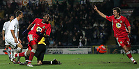 Photo: Paul Thomas.<br /> Blackburn Rovers v Basle. UEFA Cup. 02/11/2006.<br /> <br /> Benni McCarthy (L) of Blackburn about to celebrate his goal with team mate Morten Gamst Pedersen (R).