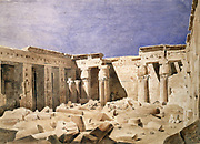 Temple of Medinet Habu'. Watercolour by Hector Horeau (1801-1872) French architect. Mortuary temple of Rameses III on West Bank of the Nile at Luxor. Ancient Egypt Archaology