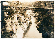bridge over gorge Japan ca 1930s