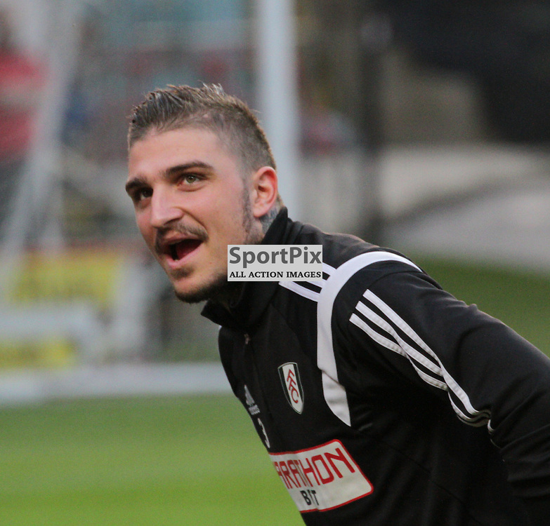 Kostas Stafylidis before the game between Charlton and Fulham on Tuesday 7th April 2015