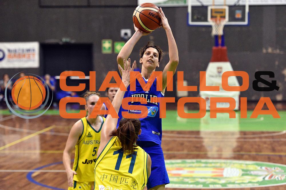 DESCRIZIONE : Pordenone Amichevole Pre Eurobasket 2015 Nazionale Italiana Femminile Senior Italia Australia Italy Australia<br /> GIOCATORE : Chiara Consolini<br /> CATEGORIA : tiro<br /> SQUADRA : Italia Italy<br /> EVENTO : Amichevole Pre Eurobasket 2015 Nazionale Italiana Femminile Senior<br /> GARA : Italia Australia Italy Australia<br /> DATA : 28/05/2015<br /> SPORT : Pallacanestro<br /> AUTORE : Agenzia Ciamillo-Castoria/GiulioCiamillo<br /> Galleria : Nazionale Italiana Femminile Senior<br /> Fotonotizia : Pordenone Amichevole Pre Eurobasket 2015 Nazionale Italiana Femminile Senior Italia Australia Italy Australia<br /> Predefinita :