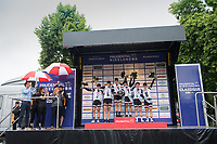 Team Sunweb celebrate on the podium following their team win in the Prudential RideLondon Classique 29/07/2017<br /> <br /> Photo: Tom Lovelock/Silverhub for Prudential RideLondon<br /> <br /> Prudential RideLondon is the world&rsquo;s greatest festival of cycling, involving 100,000+ cyclists &ndash; from Olympic champions to a free family fun ride - riding in events over closed roads in London and Surrey over the weekend of 28th to 30th July 2017. <br /> <br /> See www.PrudentialRideLondon.co.uk for more.<br /> <br /> For further information: media@londonmarathonevents.co.uk