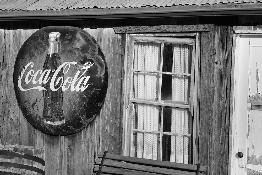 Coca Cola Sign And Old Pane Glass Window - Eldorado Canyon - Nelson NV - Black & White