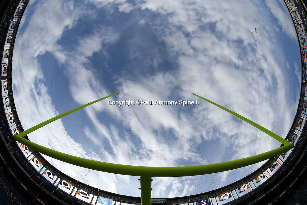 General view of Qualcomm Stadium from below the goal post with a wide angle lens before the San Diego Chargers NFL week 4 preseason football game against the San Francisco 49ers on Thursday, Aug. 29, 2013 in San Diego. The 49ers won the game 41-6. ©Paul Anthony Spinelli