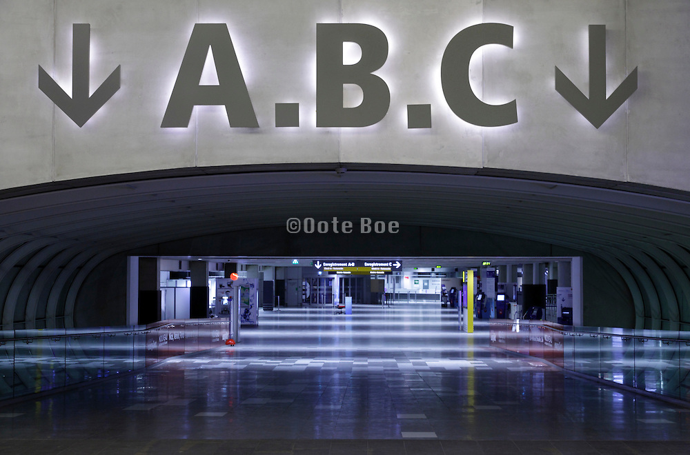 empty terminal hall during night at airport Blagnac Toulouse France