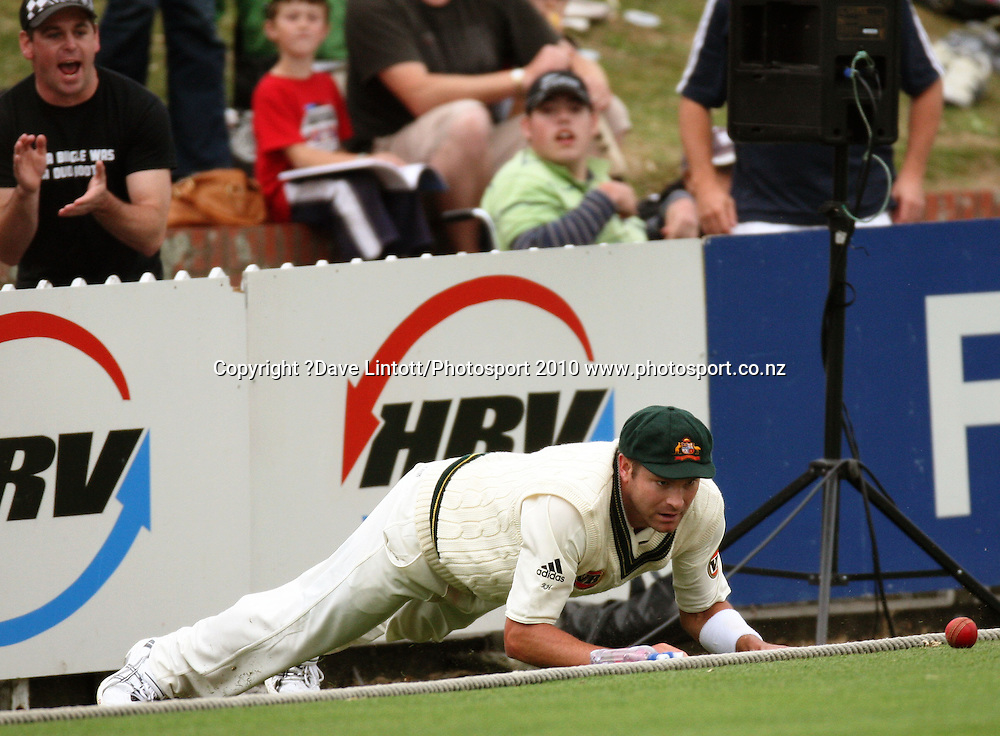 Australia's Ryan Harris fields on the boundary.<br /> 1st cricket test match - New Zealand Black Caps v Australia, day two at the Basin Reserve, Wellington.Saturday, 20 March 2010. Photo: Dave Lintott/PHOTOSPORT