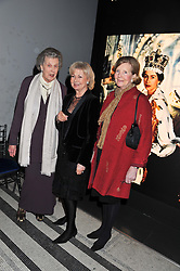 Left to right, Maids of Honour at HM The Queen's Coronation LADY MOYRA CAMPBELL, LADY RAYNE and LADY GLENCONNER at a private view of Photographs by Cecil Beaton celebrating the diamond jubilee of HM The Queen Elizabeth 11 at the Victoria & Albert Museum, Cromwell Road, London on 6th February 2012.