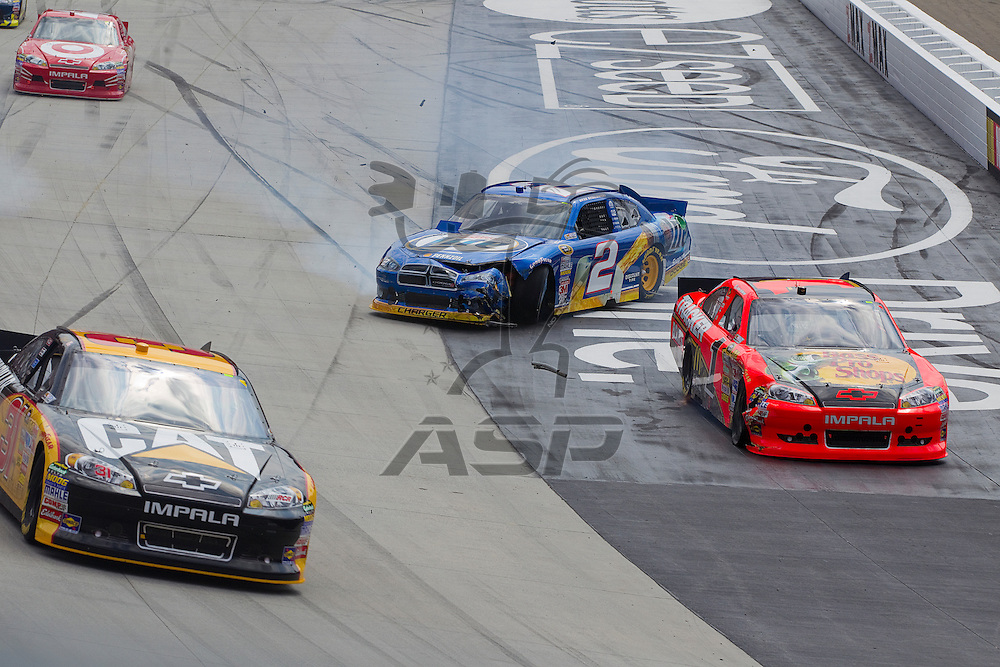 BRISTOL, TN - MAR 20, 2011:  Brad Keselowski (2) wrecks on the front stretch during the Jeff Byrd 500 race at the Bristol Motor Speedway in Bristol, TN.