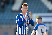 6th October 2018, Dens Park, Dundee, Scotland; Ladbrokes Premiership football, Dundee versus Kilmarnock; Scott Boyd of Kilmarnock applauds the fans at the end of the match