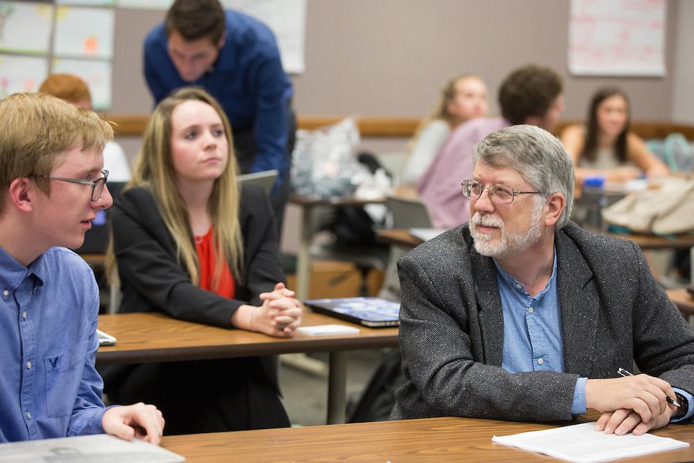 Gary Coombs talks to his learning community students in between class presentations on October 19, 2016.