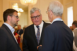 Fergus Ewing (centre), Scottish Secretary for Rural Affairs, with James Withers (left), CEO of Scotland Food and Drink meeting delegates attending the AGM at the Assembly Rooms, Edinburgh. Pic: Terry Murden @edinburghelitemedia