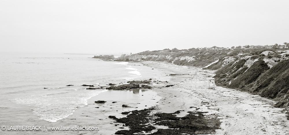B&W photograph of California coast landscape