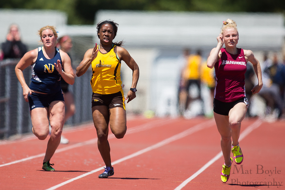 Rowan University sophomore Shantel Beckford competes in the women's 100 meter dash finals at the NJAC Track and Field Championships at Richard Wacker Stadium on the campus of  Rowan University  in Glassboro, NJ on Sunday May 5, 2013. (photo / Mat Boyle)