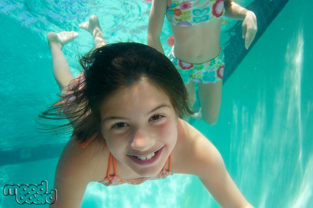 Girls swimming, underwater view