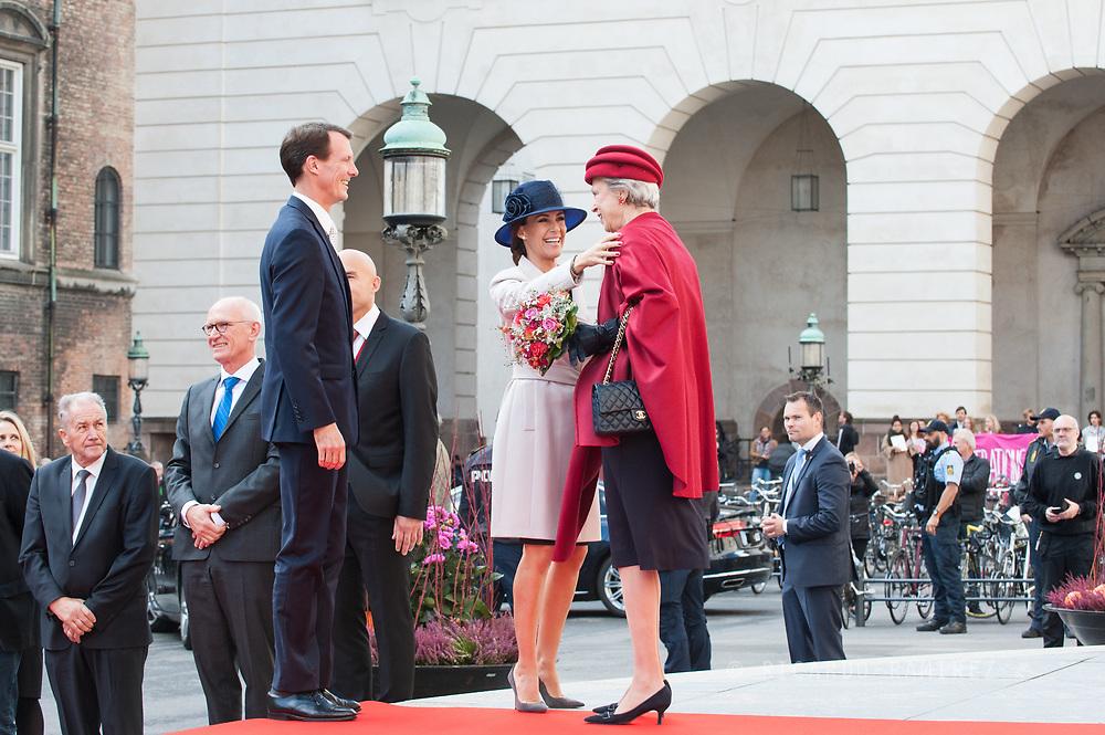 03.10.2017. Copenhagen, Denmark. <br /> Princess Marie, Prince Joachim, Princess Benedikte attended the opening session of the Danish Parliament (Folketinget) at Christiansborg Palace in Copenhagen, Denmark.<br /> Photo: © Ricardo Ramirez
