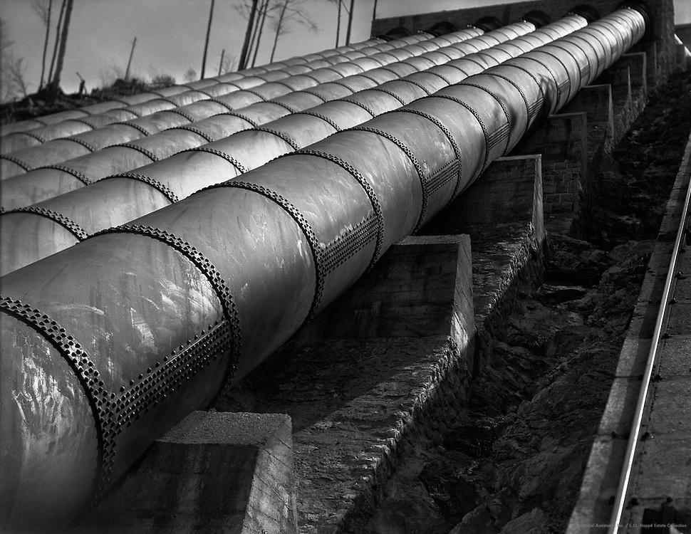 Close-up View of Exterior Pipes, Walchensee-Kochelsee Hydroelectric Power Plant ('Bayernwerk'), Kochel am See, Bavaria, 1928