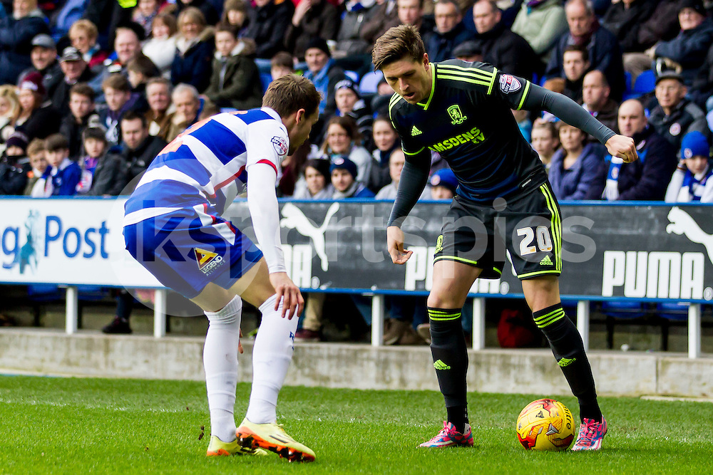 Adam Reach of Middlesbrough in action during the Sky Bet Championship match between Reading and Middlesbrough at the Madejski Stadium, Reading, England on 10 January 2015. Photo by Gareth  Brown.