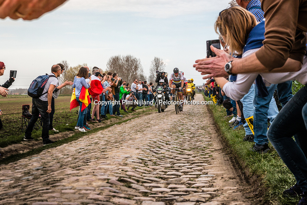 Leading group with Peter SAGAN from Slovakia of BORA - hansgrohe at the 4 star cobblestone sector 11 of Mons-en-Pévèle during the 2018 Paris-Roubaix race, France, 8 April 2018, Photo by Pim Nijland / PelotonPhotos.com | All photos usage must carry mandatory copyright credit (Peloton Photos | Pim Nijland)
