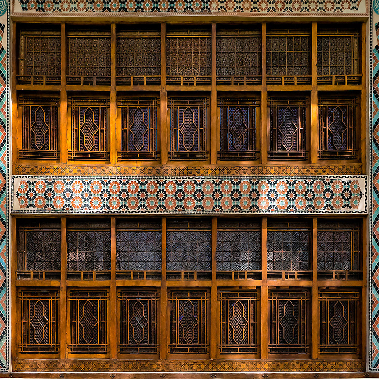 Spread over 2 floors, coloured glass wooden window panes decorate the side of the Sheki Khan palace in Azerbaijan