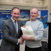 24.05.2018.       <br /> The Limerick Institute of Technology with Atlantic Air Adventures and funding from the Aviation Skillnet presented over forty certificates to Aviation professionals who have completed the Certificate in Aviation, The Aircraft Records Technician Level 7 and Part 21 Design, Level 7.<br /> <br /> Pictured at the event was Jim Gavin, The Irish Aviation Authority and Manager of the Dublin Football Team who presented, Diarmuid Meehan with their cert.<br /> <br /> LIT in partnership with Atlantic Air Adventures, CAE Parc Aviation, Part 21 Design and industry experts such as Anton Tams, GECAS, Don Salmon, CAE Parc Aviation and Mick Malone, Part 21 Design have developed and deliver these key training programmes with funding for aviation companies provided by The Aviation Skillnet.<br /> <br /> . Picture: Alan Place
