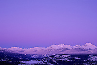 Purple sunset over the Coast Mountains, Garibaldi Range, BC