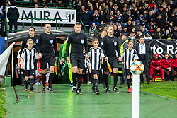 Players entering the pitch before the football match between NŠ Mura and NK Olimpija Ljubljana in 26th Round of Prva liga Telekom Slovenije 2018/19, on April 11, 2019 in Fazanerija, Murska Sobota, Slovenia. Photo by Blaž Weindorfer / Sportida