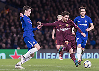 Football - 2017 / 2018 UEFA Champions League - Round of Sixteen, First Leg: Chelsea vs. Barcelona<br /> <br /> Lionel Messi (Barcelona) prepares to strike the equalizing goal at Stamford Bridge.<br /> <br /> COLORSPORT/DANIEL BEARHAM