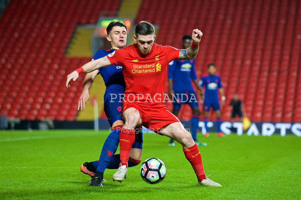LIVERPOOL, ENGLAND - Monday, January 16, 2017: Liverpool's Jack Dunn in action against Manchester United's Regan Poole during FA Premier League 2 Division 1 Under-23 match at Anfield. (Pic by David Rawcliffe/Propaganda)