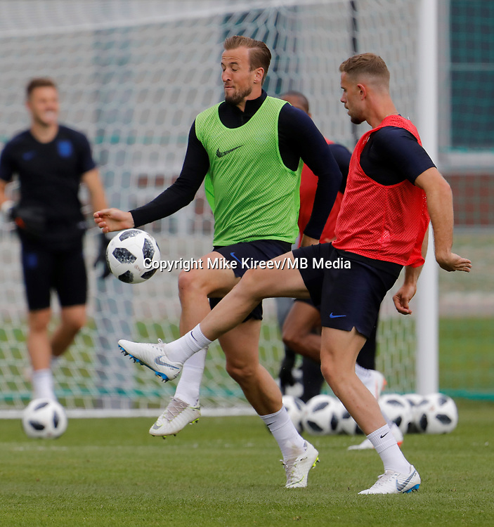 SAINT PETERSBURG, RUSSIA - JUNE 13: Harry Kane (C) of England national team and Jordan Henderson of England national team during an England national team training session ahead of the FIFA World Cup 2018 in Russia at Stadium Spartak Zelenogorsk on June 13, 2018 in Saint Petersburg, Russia.