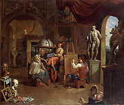 Artist's studio with Artist at Work on the Portrait of a Woman' Oil on canvas. Gerard Thomas (1663-1720) Flemish artist. Easel Canvas Globe Carpet