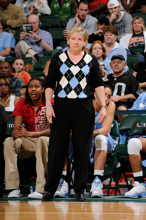 February 4, 2010: Head coach Sylvia Hatchell of the North Carolina Tar Heels in action during the NCAA basketball game between the Miami Hurricanes and the North Carolina Tar Heels. The 'Canes defeated the Tar Heels 80-69.