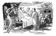 (A surgeon carrying out an operation with an audience wathcing through a window is acting it out like a showbusiness performance with a showgirl handing him a saw)