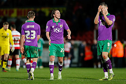 Luke Ayling of Bristol City looks dejected after the match ends in a 1-1 draw meaning a Tuesday night replay next week - Photo mandatory by-line: Rogan Thomson/JMP - 07966 386802 - 03/01/2015 - SPORT - FOOTBALL - Doncaster, England - Keepmoat Stadium - Doncaster Rovers v Bristol City - FA Cup Third Round Proper.