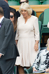© Licensed to London News Pictures. 11/07/2018. London, UK. HRH The Duchess of Cornwall watches centre court tennis in the royal box at the Wimbledon Tennis Championships 2018, at the All England Lawn Tennis and Croquet Club. Photo credit: Ray Tang/LNP