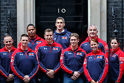 © Licensed to London News Pictures. 27/04/2016. London, UK. Members of the United Kingdom team attending the Invictus Games posing before their meeting with Prime Minister David Cameron in Downing Street, London on Tuesday, 27 April 2016. Photo credit: Tolga Akmen/LNP