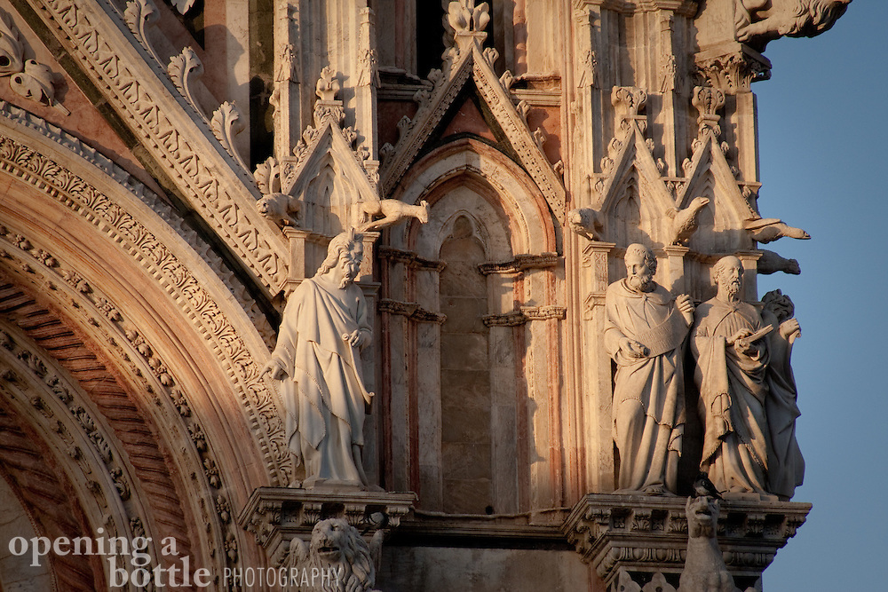 Close-up of the Siena Duomo facade, Sienna, Tuscany, Italy. Full color image available upon request.