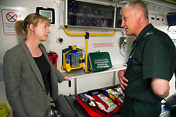 Pictured: Shona Robision and Paramedic Specialist Ian Stark<br /> <br /> Health Secretary Shona Robison met paramedics today on a visit to Scottish Ambulance Service's city station where she announced new funding for the service<br /> Ger Harley | EEm 24 April 2017