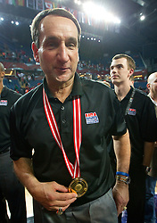 Head coach of USA Mike Krzyzewski celebrates at medal ceremony  after winning the finals basketball match between National teams of Turkey and USA at 2010 FIBA World Championships on September 12, 2010 at the Sinan Erdem Dome in Istanbul, Turkey.  USA defeated Turkey 81 - 64 and became World Champion 2010. (Photo By Vid Ponikvar / Sportida.com)