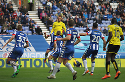 Tom Naylor of Burton Albion (Top) heads at goal late on - Mandatory by-line: Jack Phillips/JMP - 15/10/2016 - FOOTBALL - DW Stadium - Wigan, England - Wigan Athletic v Burton Albion - EFL Championship