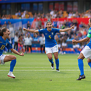 MONTPELLIER, FRANCE June 13.  Marta #10 of Brazil celebrates with Thaisa #5 of Brazil and Letícia Santos #13 of Brazil after scoring her sides first goal from the penalty spot during the Australia V Brazil, Group C match at the FIFA Women's World Cup at Stade La Mosson Stadium on June 13th 2019 in Montpellier, France. (Photo by Tim Clayton/Corbis via Getty Images)