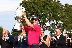 August 13, 2017 - Charlotte, North Carolina, United States - Justin Thomas holds the Wanamaker Trophy after winning the final round of the 99th PGA Championship at Quail Hollow Club. (Credit Image: © Debby Wong via ZUMA Wire)
