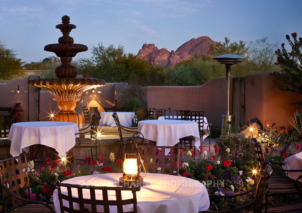 Candlelight help illuminate the dining patio of Lon's Restaurant at Hermosa Inn in Paradise Valley,  outside Phoenix in Arizona.
