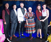 Strictly Ballroom The Musical <br /> Press photocall / publicity stunt <br /> at Cafe de Paris, London, Great Britain <br /> 14th February 2018 <br /> <br /> <br /> Fernando Mira who plays Rico <br /> Drew McOnie - director and choreographer <br /> Will Young as band Leader <br /> Catherine Martin - who co-created the production with Bad Luhrmann <br /> Zizi Strallen as Fran <br /> Jonny Labey as Scott Hastings <br /> <br /> And full company <br /> <br /> Photograph by Elliott Franks