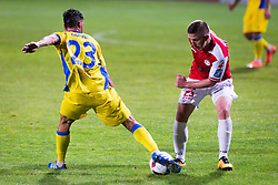 Mario Lucas Horvat of NK Domzale and Lovro Cvek of NK Aluminij during football match between NK Domzale and NK Aluminij in 8th Round of Prva liga Telekom Slovenije 2016/17, on September 9, 2016 in Sportni Park, Domzale, Slovenia. Photo by Ziga Zupan / Sportida