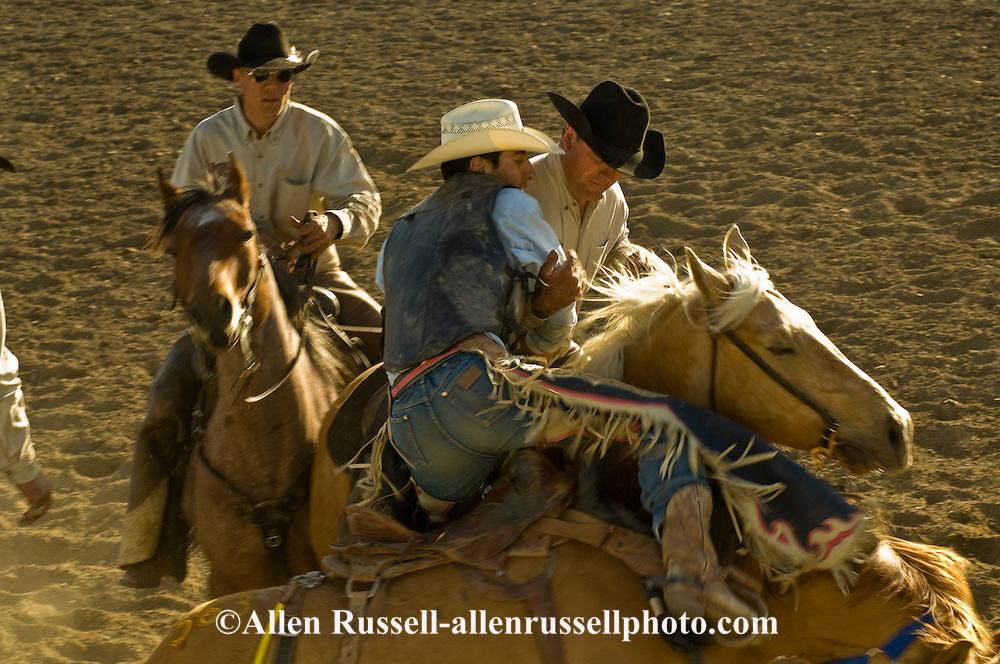 Pickup men Jay Shaw, Kyle Shaw and Lynn Ashley pick up saddle bronc rider, Miles City Bucking Horse Sale, Montana