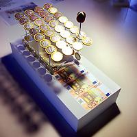 Nederland, Amsterdam , 27 februari 2012..Architect Cees Dam van Dam & Partners architecten bij de maquette van 1 van de metro uitgangen in de stad die op kunstzinnige manier aangekleed worden..Foto:Jean-Pierre Jans
