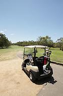 2010 Noosa Triathlon Festival.Noosa Tri Celebrity Golf Day.Golf cart, prepped and ready for action..28/10/2010.Noosa Golf Club, Noosa, Queensland, Australia.
