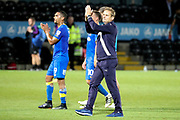 AFC Wimbledon manager Neal Ardley clapping during the EFL Trophy match between Barnet and AFC Wimbledon at Underhill Stadium, London, England on 29 August 2017. Photo by Matthew Redman.