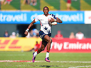 USA player Perry Baker on his way to scoring a try during the Emirates Dubai rugby sevens match between USA  and Kenya  at the Sevens Stadium, Al Ain Road, United Arab Emirates on 3 December 2016. Photo by Ian  Muir.*** during the Emirates Dubai rugby sevens match between *** and *** at the Sevens Stadium, Al Ain Road, United Arab Emirates on 3 December 2016. Photo by Ian  Muir.